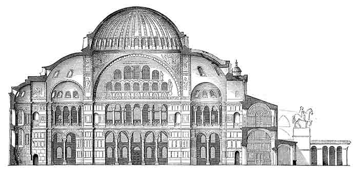 A section drawing of Hagia Sophia in the time of Justinian.