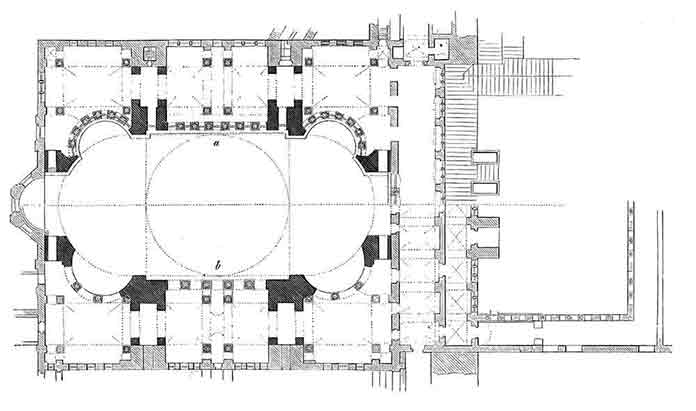 An example of a technical drawing showing the plan of the Hagia Sophia Museum. It is an indicator that the ability of Drawing in Architecture is not required.