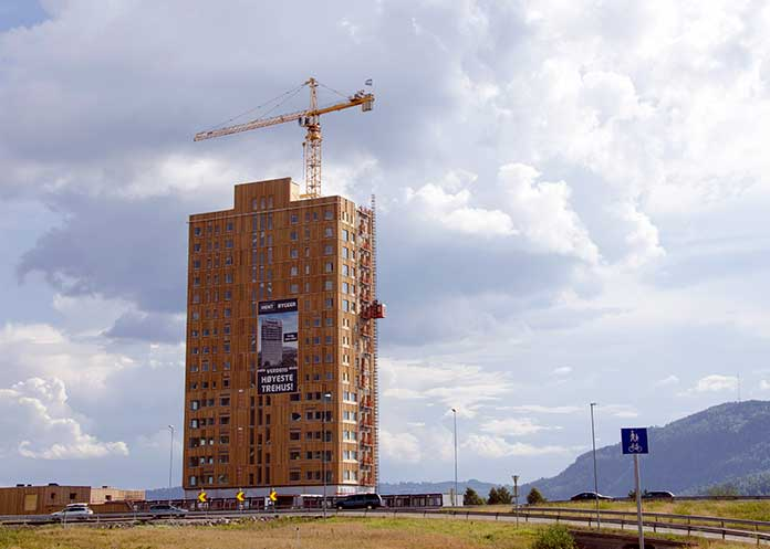 The Mjos Tower made with CLT technology. Tallest wooden building of  the world