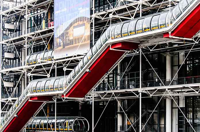As the design of Renzo Piano and Richard Rogers, Pompidou Center in Paris
