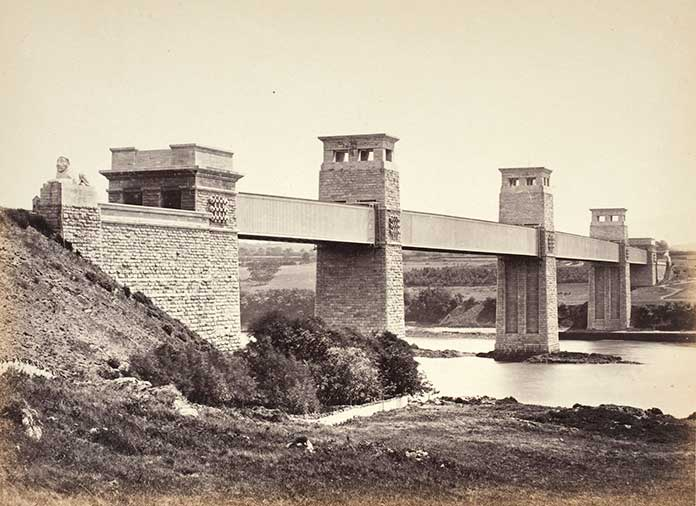 Britannia Bridge made by wrought iron in England
