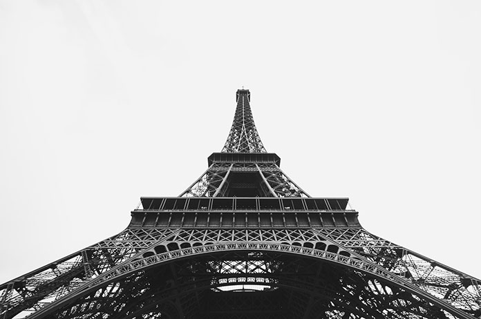 The famous Eiffel Tower in Paris which was built with wrought iron building material