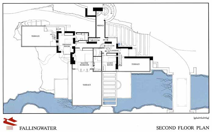 Second Floor plan of Falling Water House