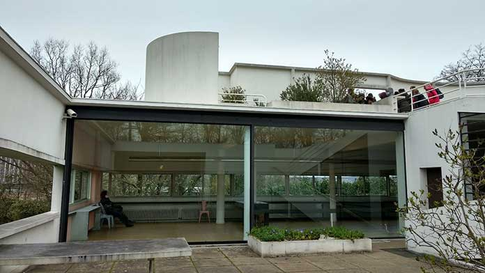 Villa Savoye of modernist architect Le Corbusier and its view from inside