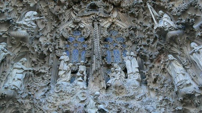 The facade detail of the Unfinished Church