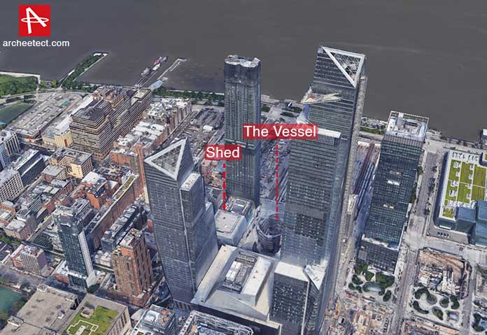 3d satellite view of the Hudson Yards